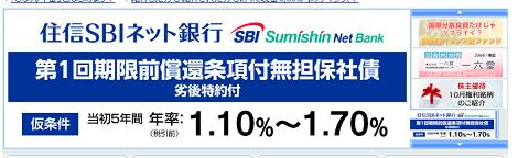 SBI証券が住信SBIネット銀行の劣後債を販売。当初5年間は1.10%~1.70%予定